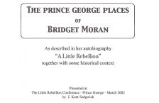 The Prince George Places of Bridget Moran cover